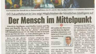 """In the newspaper: OÖ Zukunftsforum-""""Der Mensch im Mittelpunkt"""" – German"""