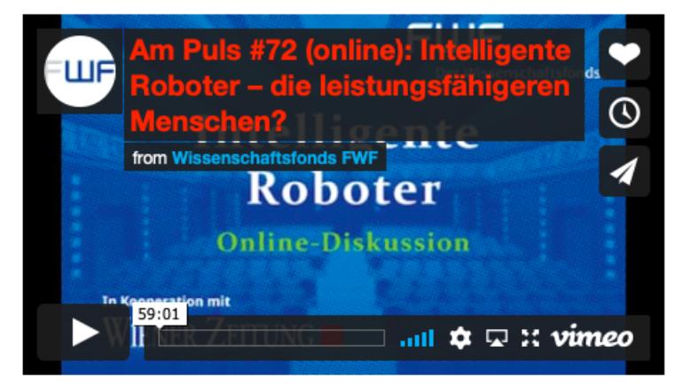 """Online interview: FWF Am PULS 72 """"Intelligente Roboter – die leistungsfähigeren Menschen? – German"""