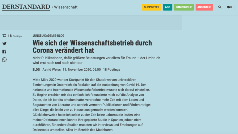 "In the newspaper: ""Wie Corona den Wissenschaftsbetrieb verändert"" – German"